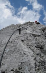 Kaiserschild klettersteig - a függőhíd előtti szakaszon
